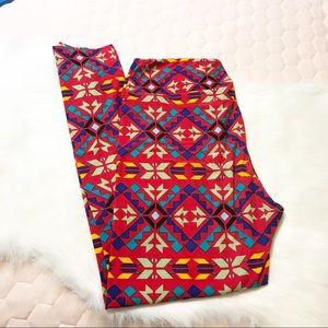 LulaRoe ⚜️ Red Aztec Print Leggings